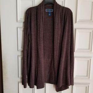Karen Scott brown cardigan sweater size Large